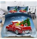 Red Car Loaded with Gifts 3D 4-Piece Christmas Bedding Sets/Duvet Covers