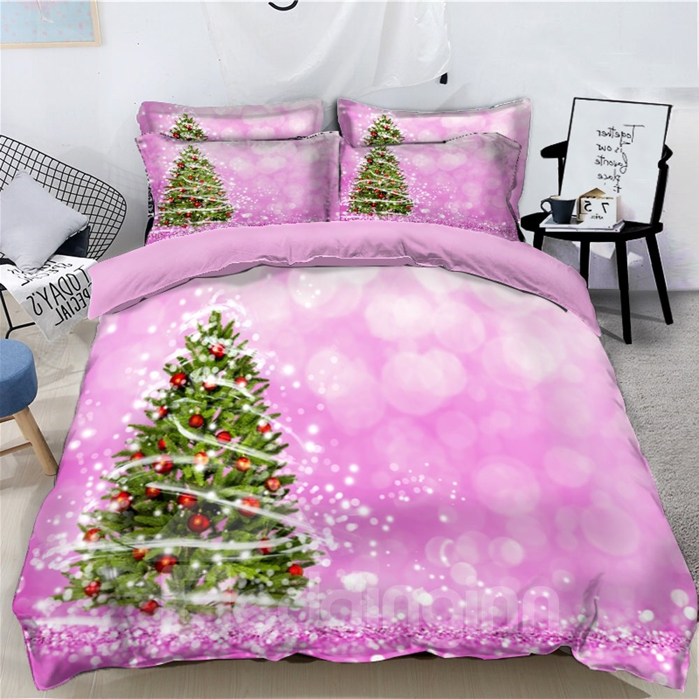 Christmas Tree Sweet Pink 3D 4-Piece Bedding Sets/Duvet Covers