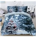 Tree is Covered with Snow 3D 4-Piece Christmas Bedding Sets/Duvet Covers