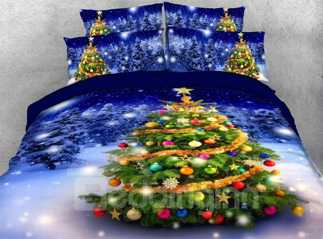Christmas Tree and Snowy Night 3D 4-Piece Bedding Sets/Duvet Covers