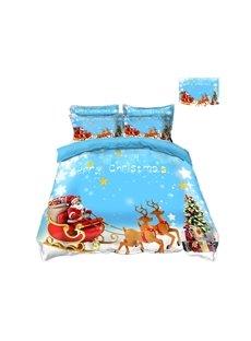 Reindeer Pull Santa's Sleigh Merry Christmas 4-Piece 3D Bedding Sets/Duvet Covers