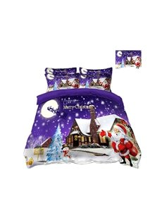 Santa Claus and Snow House Merry Christmas 3D 4-Piece Bedding Sets/Duvet Covers