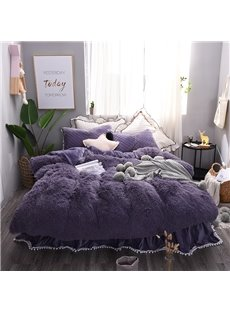 Solid_Purple_Princess_Style_4Piece_Fluffy_Bed_Skirts_Duvet_Cover