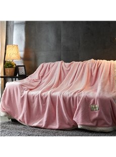 Solid Sweet Pink Double Side Milk Cashmere Fluffy Blanket