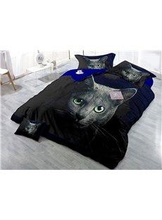 Black Cat Printed Cotton 3D 4-Piece Bedding Sets/Duvet Covers