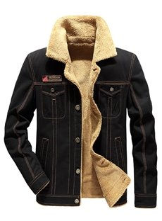 Single-Breasted Plain Cotton European Style Slim Model Thick Jacket