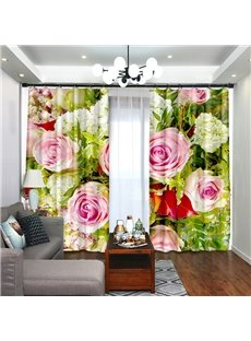 Pink Roses Surrounded by Hydrangea Curtain for Dining/ Living Room