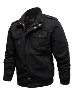 Plain Lapel Loose Model Zipper Casual Style Winter Jacket