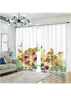 Yellow Flower Daffodils with Butterfly Curtain for Dining Room