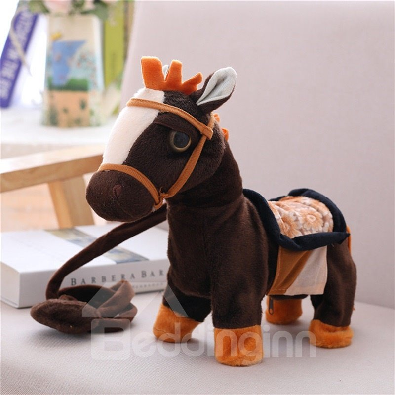 Cute Horse Soft and Breathable Singing And Walking Plush Baby Toy