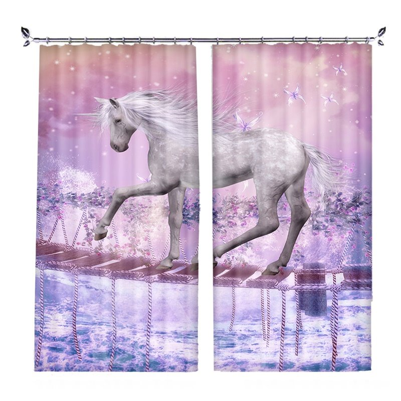 White Unicorn Crossing Single-log Bridge Pink Blackout Curtain 3D