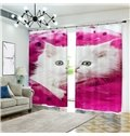 White Cat Wrapped in Pink 3D Curtain Animal Blackout