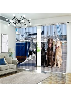 Three dogs and Ships near Shoreside Curtain Polyester Blackout