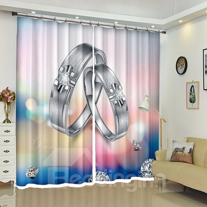 Two Silver Rings Romantic Style 3D Printed Curtain Blackout