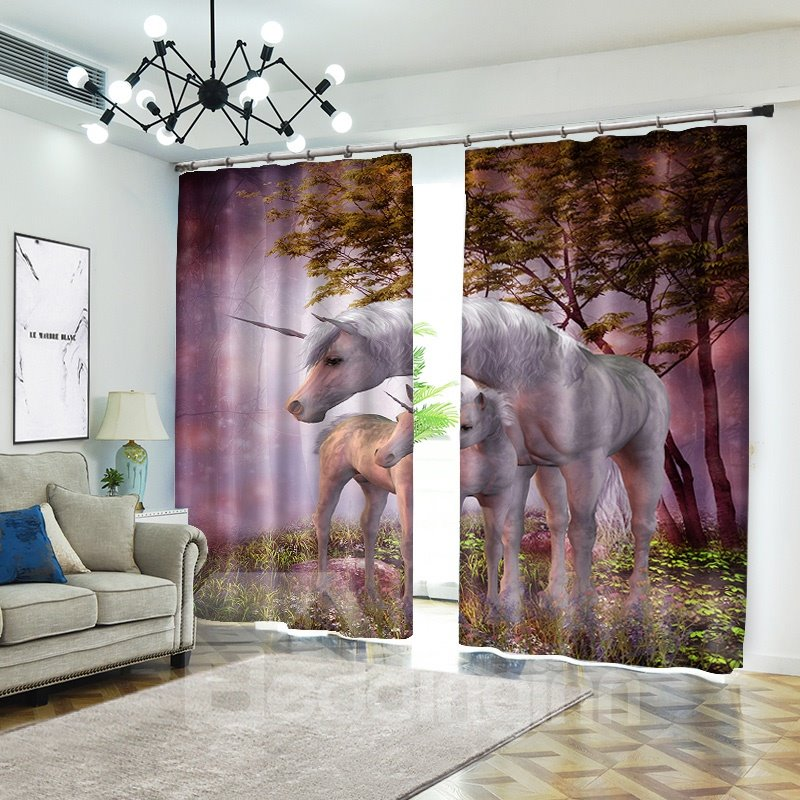 Pink Unicorn Mother and Baby in Wild Curtain Animal Blackout