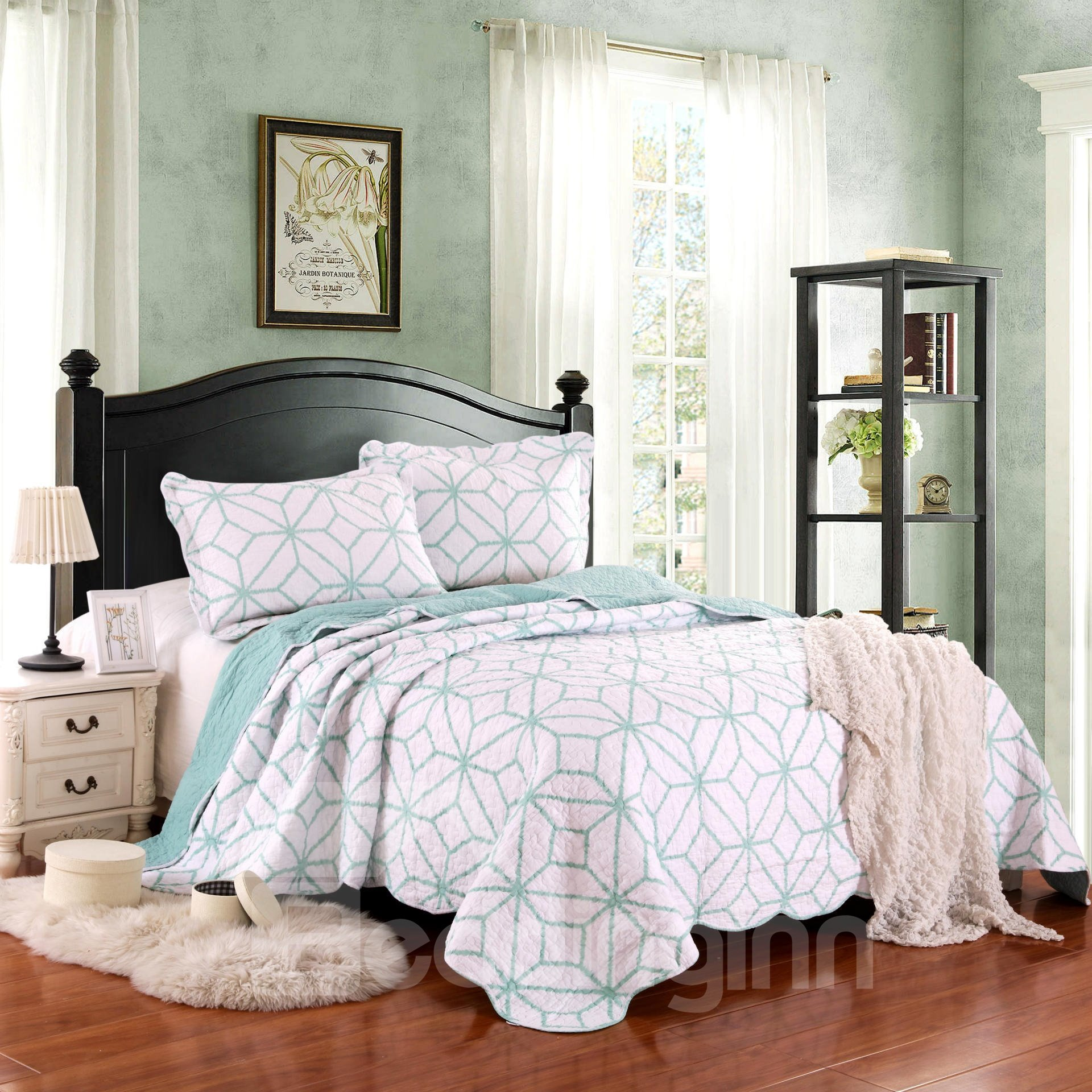 Green and White Geometric 3-Pc Bed in a Bag