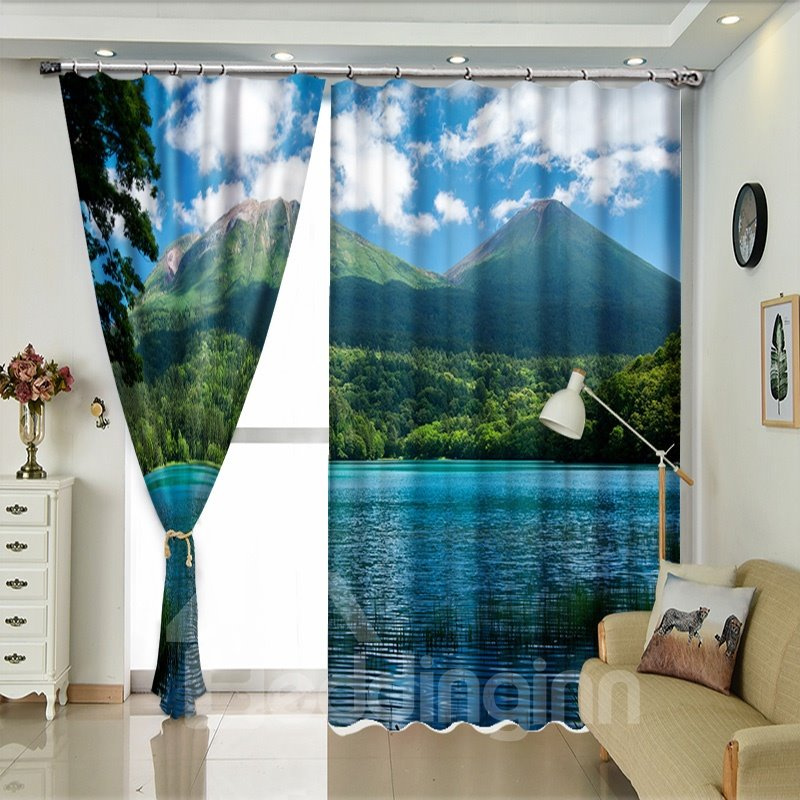 Green Mountain Crystal Blue Lake Natural Scene Curtain for Bedroom