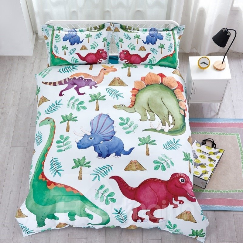 Dinosaur Pattern Hand Drawing By Designer Cotton Material 4-Pieces Kids Bedding Sets/Duvet Cover