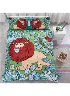 Hand Painted Lion Pattern Cotton Material 4-Pieces Kids Bedding Sets/Duvet Cover