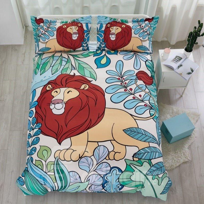 Cotton Material Hand Painted Lion Pattern 4-Pieces Kids Bedding Sets/Duvet Cover