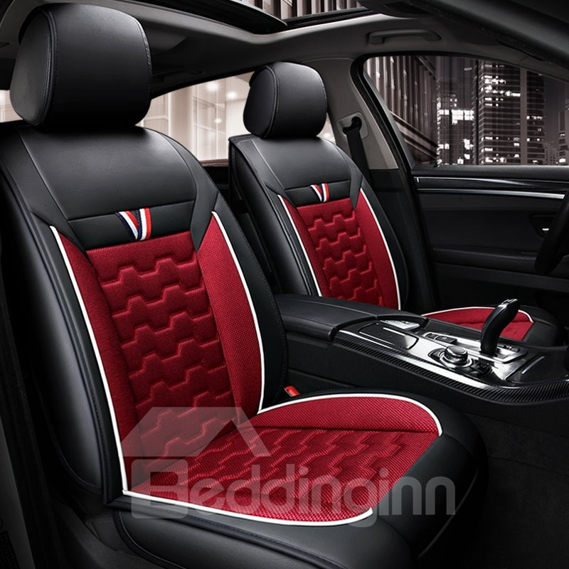 Classic V-type Stripes Comfortable PU Leather Seat Cover for All Seasons
