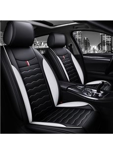 Cool Sport Style Red and White Vertical Stripes Color Block Seat Cover for All Seasons
