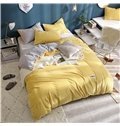 Wavy Shape Solid Yellow and Grey Reversible 4-Piece Fluffy Bedding Sets/ Duvet Covers