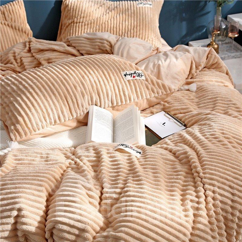 Wavy Shape Princess Style Camel 4-Piece Fluffy Bedding Sets/ Duvet Covers