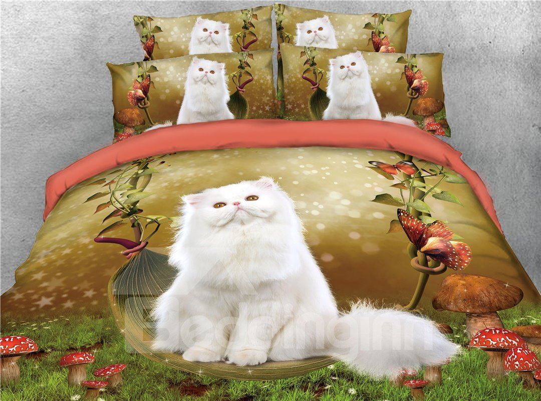 White Cat Sitting on the Swing and Butterflies Printed 4-Piece 3D Bedding Sets/Duvet Covers
