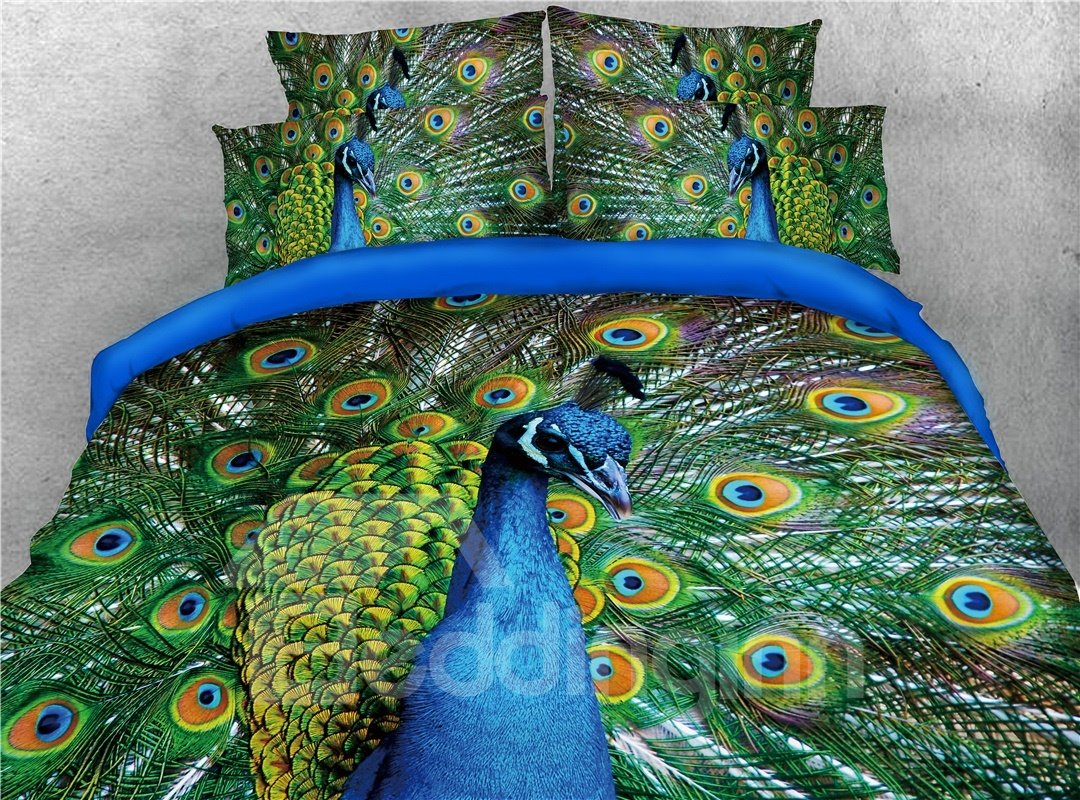 Peacock Flaunting its Tail Printed 3D 4-Piece Bedding Sets/Duvet Covers