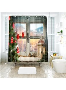 Christmas Tree and 3D Scenery Bathroom Shower Curtain Bathroom Shower Curtain