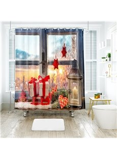 Christmas Gifts and 3D Scenery Bathroom Shower Curtain