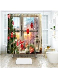Christmas Ornaments by the Window Bathroom Shower Curtain