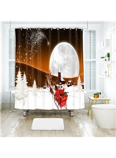 Santa Claus Fly to the Moon Bathroom Shower Curtain