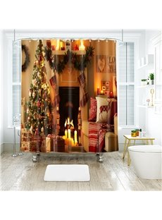 Christmas Tree Sofa Fireplace toward You Bathroom Shower Curtain
