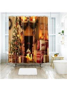Christmas Tree Sofa Fireplace toward You Bathroom Shower Curtain