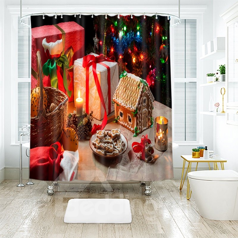 Colorful Gifts and Various Snacks Bathroom Shower Curtain