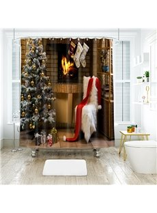 Christmas Hat and Scarf with Christmas Tree Bathroom Shower Curtain