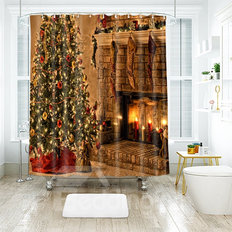 Warm Feeling Fireplace and Christmas Tree Bathroom Shower Curtain