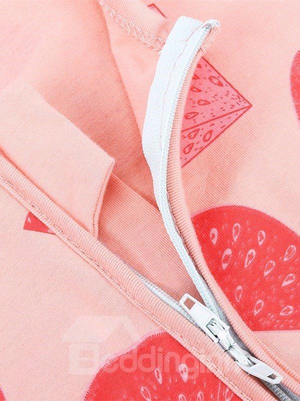 Red Watermelon Long Sleeve Covered Feet Cotton Zipper Infant Jumpsuit/Bodysuit