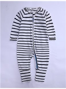 Long Sleeve Covered Feet Cotton Stripe Zipper Infant Jumpsuit/Bodysuit