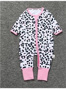 Spot Pattern Long Sleeve Covered Feet Cotton Zipper Infant Jumpsuit/Bodysuit