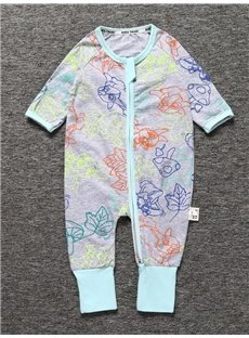 Colorful Long Sleeve Covered Feet Cotton Zipper Infant Jumpsuit/Bodysuit