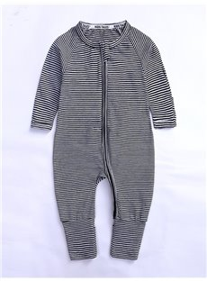 Stripe Long Sleeve Covered Feet Cotton Zipper Infant Jumpsuit/Bodysuit