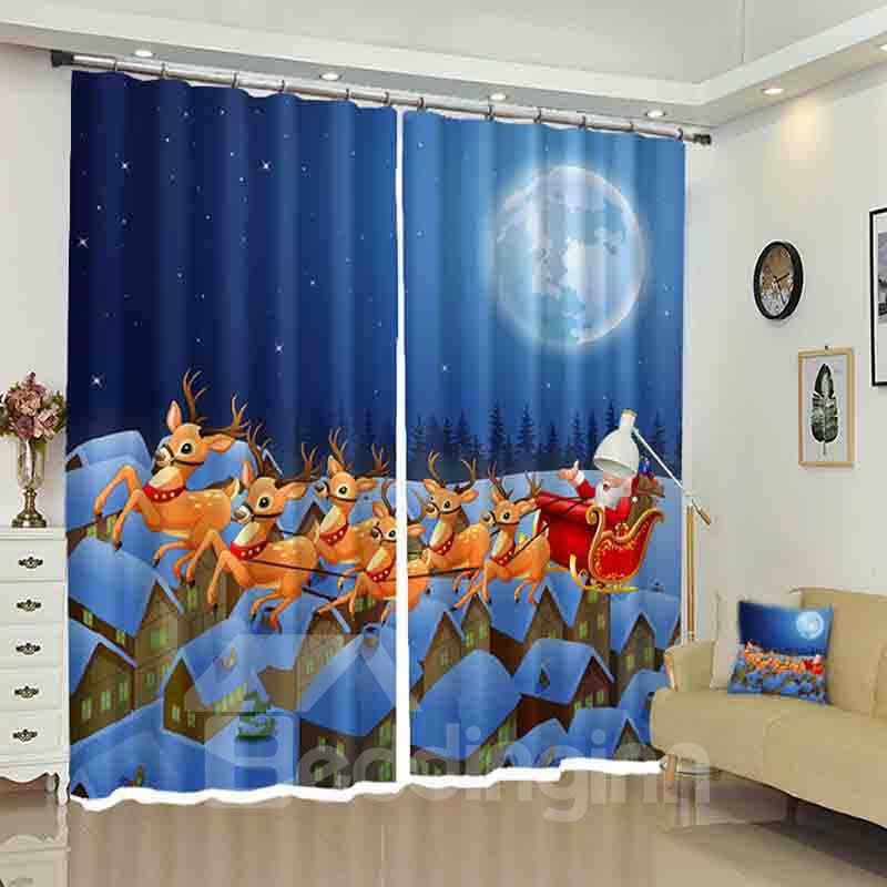 Santa in a Sleigh Pulled by Reindeer Christmas Cartoon Curtain