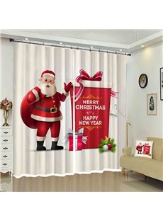 Santa and His Gifts Bag Merry Christmas Holiday Decorative Curtain