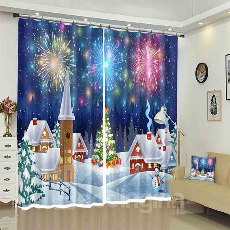 Firework Above Snowed Houses Christmas Pattern 3D Curtain