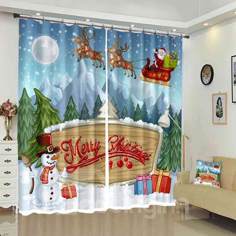 Merry Christmas Letters Santa and Snowman Pattern 3D Curtain
