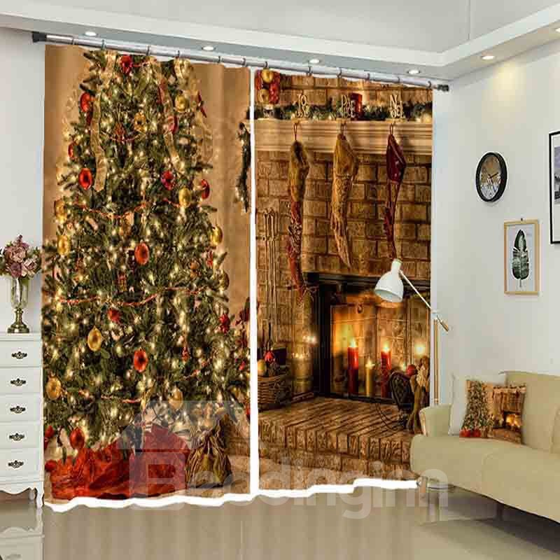 Christmas Tress in Warm House with Fireplace Curtain for Holiday