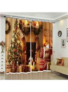 Shining Christmas Tree Cozy Corner in House Painted Curtain